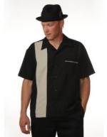 Bowling Hemd schwarz mit grauem Streifen (ohne Elvis)