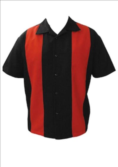 Bowling Hemd ohne Elvis , rot-schwarz L