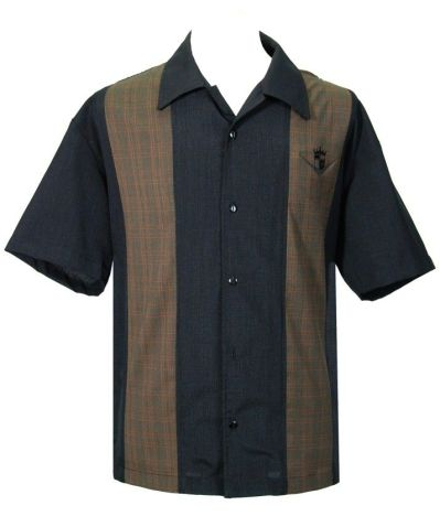 Bowling Hemd , schwarz-braun Caddy Logo (ohne Elvis )