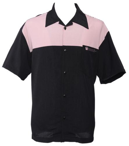 Bowling Hemd, schwarz-rosa, (ohne Elvis)