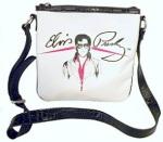 Umhängetasche weiss , Elvis mit Brille