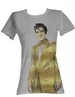 "T-Shirt ""Gold-Elvis"", grau , Damen Gr. L"