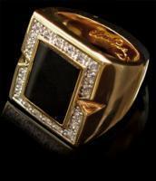 Black Onyx Ring, vergoldet