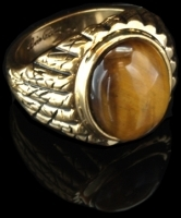 Elvis Tiger's Eye Ring, vergoldet