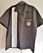 Bowling Hemd  Elvis, schwarz mit weiss Streifen