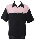 Bowling Hemd ,  schwarz-rosa,  (ohne Elvis)